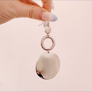 circle drop silver hoop earrings